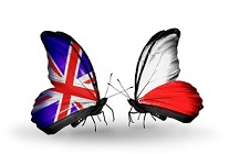 Two butterflies with flags on wings as symbol of relations UK and Poland